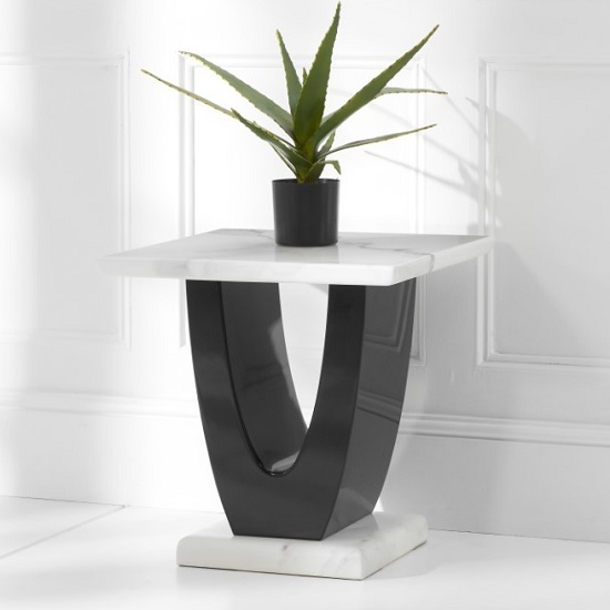 Aloya Marble Lamp Table Square In White And Black