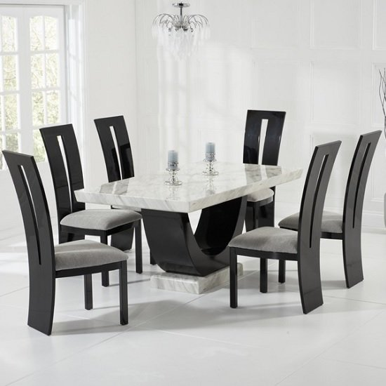 Allie Marble Dining Table In Cream With 6 Ophelia Grey Chairs_1
