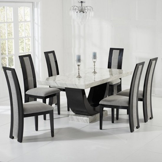 Allie marble dining set in cream and black with 6 grey Black marble dining table set