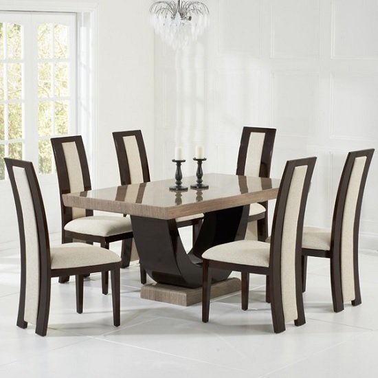 Allie Marble Dining Set In Brown With 6 Cream Chairs