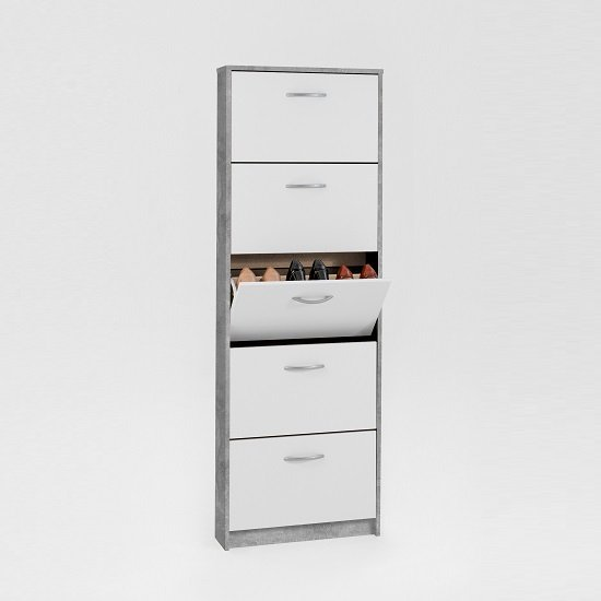 Allison Tall Shoe Cabinet In White And Light Atelier