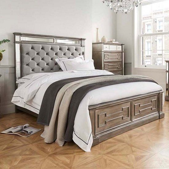 Alloa Mirrored Face King Size Bed In Silver And Grey