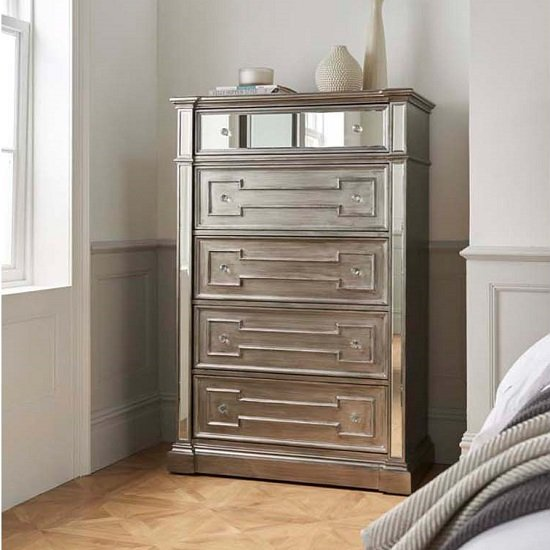 Alloa Mirrored Face Chest Of Drawers In Grey With 5 Drawers