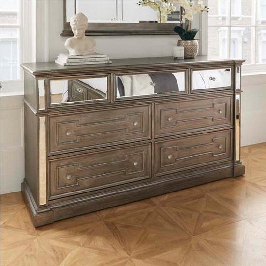 Alloa Mirrored Face Dressing Table In Grey With 4 Drawers