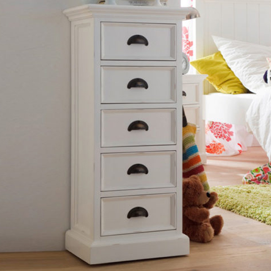 Allthorp Chest Of Drawers In Classic White With 5 Drawers