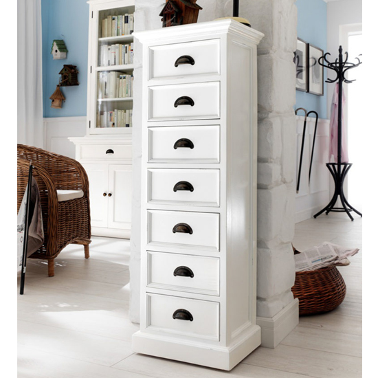 Allthorp Tall Chest Of Drawers In Classic White With 7 Drawers