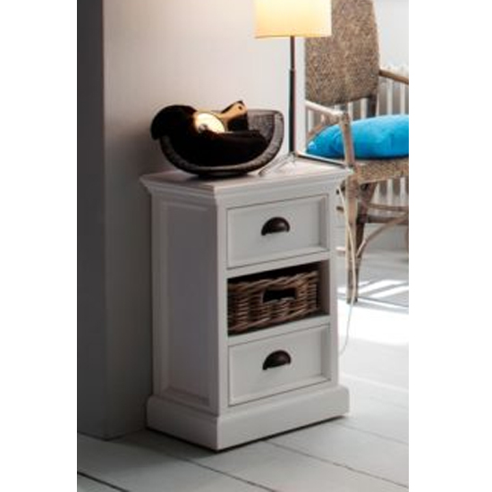 View Allthorp wooden bedside unit with basket in classic white