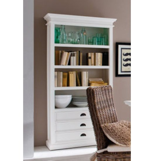 View Allthorp wooden bookcase in classic white with 3 drawers