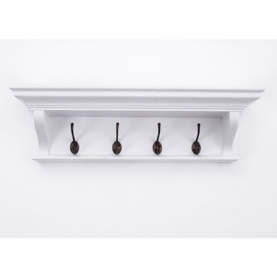 Allthorp Wooden Coat Rack In Classic White With 4 Hooks