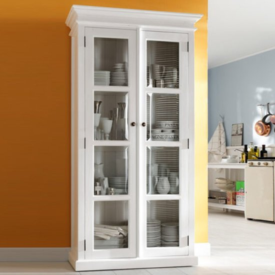 Allthorp Wooden Double Door Display Cabinet In Classic White