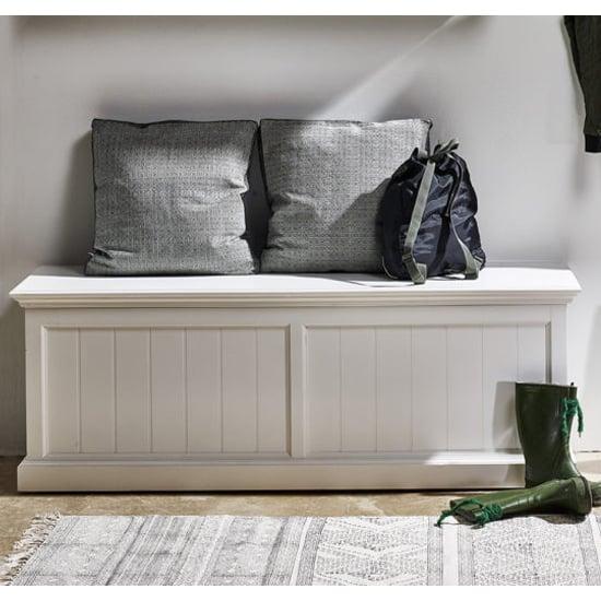 View Allthorp wooden hallway storage bench in classic white
