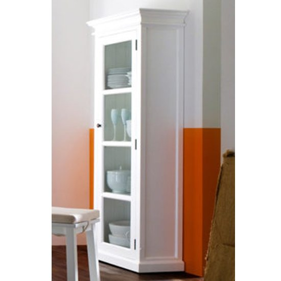 Allthorp Wooden Single Door Display Cabinet In Classic White