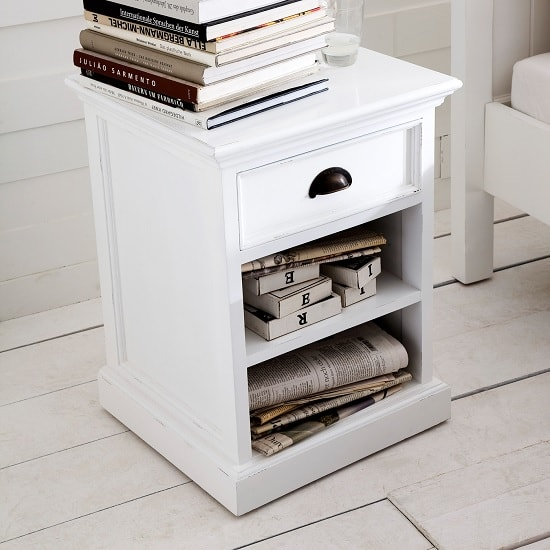 Allthorp Solid Wood Bedside Table In White With 1 Drawer_2