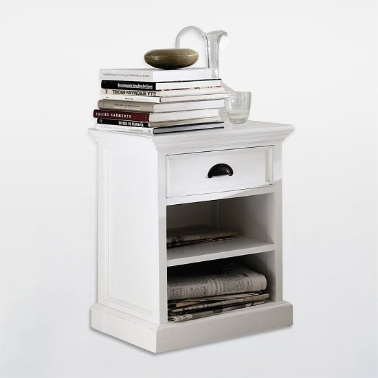 Allthorp Solid Wood Bedside Table In White With 1 Drawer_3