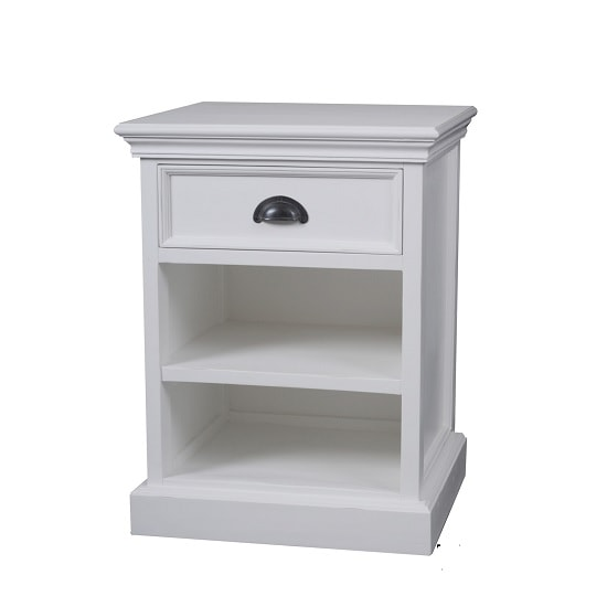 Allthorp Solid Wood Bedside Table In White With 1 Drawer_4