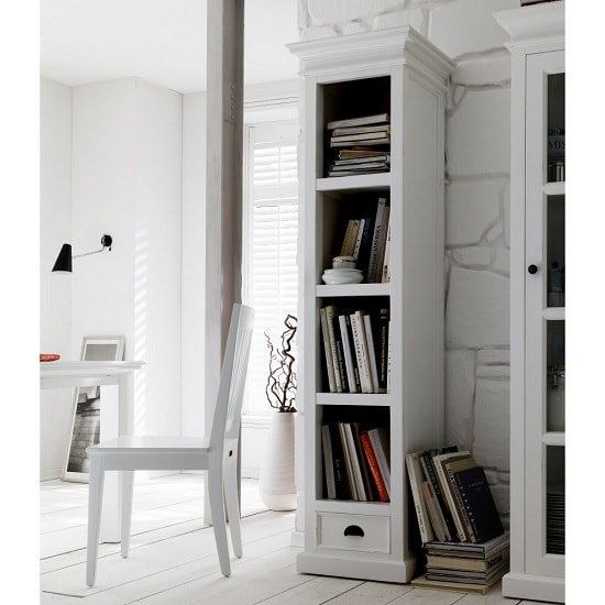 Allthorp Solid Wood Bookcase In White With 1 Drawer