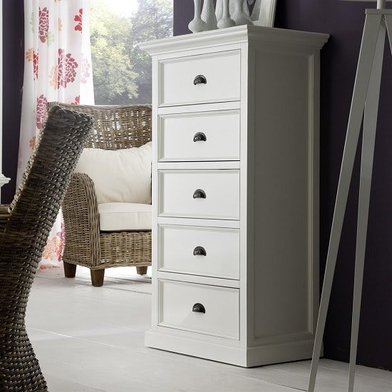 Allthorp solid wood chest of drawers in white with