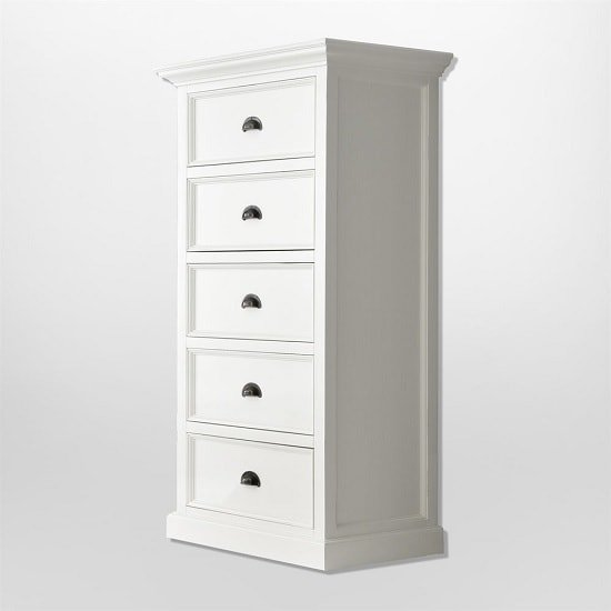 Allthorp Solid Wood Chest Of Drawers In White With 5 Drawers_2