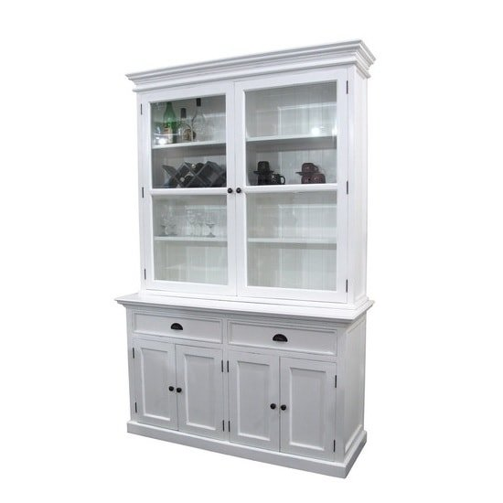 Allthorp Solid Wood Glass Display Cabinet In White With 6 Doors_2