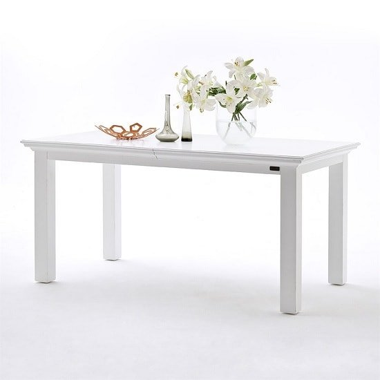 Allthorp Solid Wood Extendable Dining Table Rectangular In White