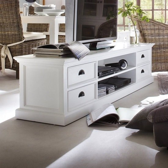 Allthorp Solid Wood Tv Stand Large In White With 4 Drawers