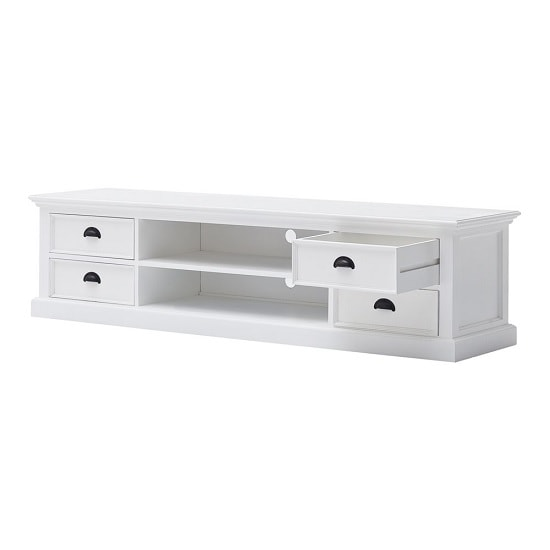 allthorp solid wood tv stand large in white with 4 drawers. Black Bedroom Furniture Sets. Home Design Ideas