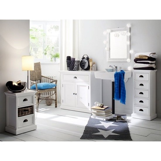Allthorp Solid Wood Chest Of Drawers In White With 5 Drawers_4