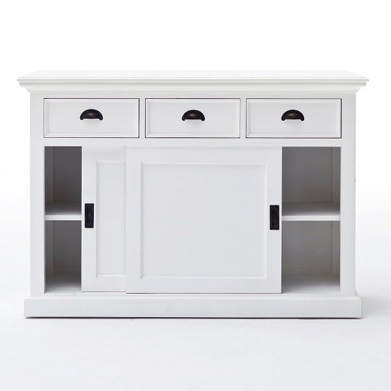 Allthorp Solid Wood Sideboard In White With 2 Sliding Doors_5