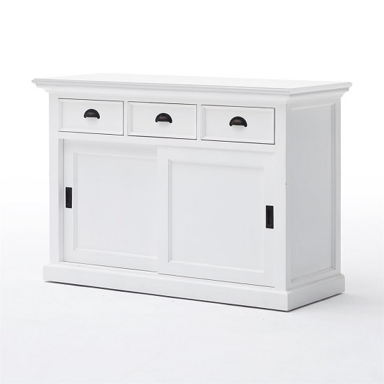 Allthorp Solid Wood Sideboard In White With 2 Sliding Doors_4