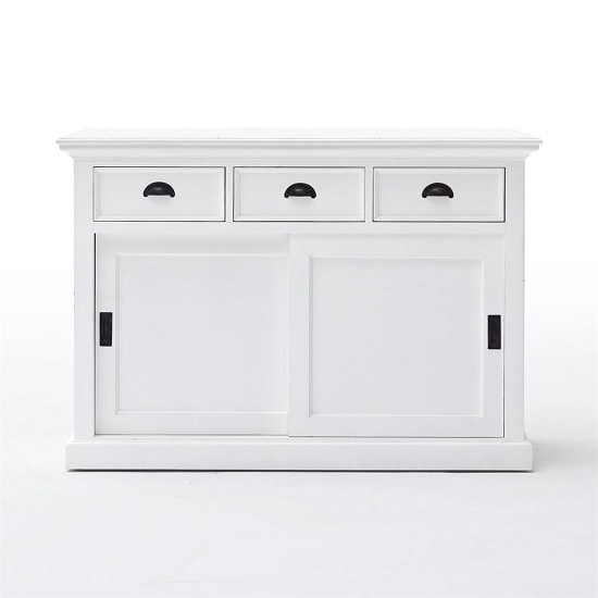 Allthorp Solid Wood Sideboard In White With 2 Sliding Doors_2
