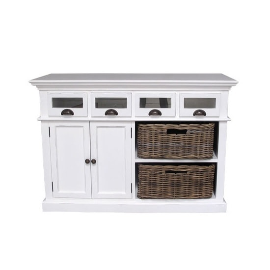 Allthorp Solid Wood Sideboard In White With 2 Doors 4 Drawers_3