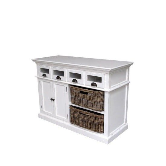Allthorp Solid Wood Sideboard In White With 2 Doors 4 Drawers_4