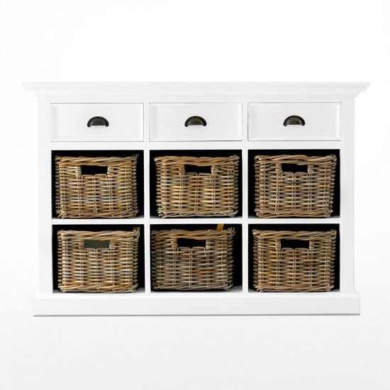 Allthorp Solid Wood Sideboard In White With 6 Baskets_2