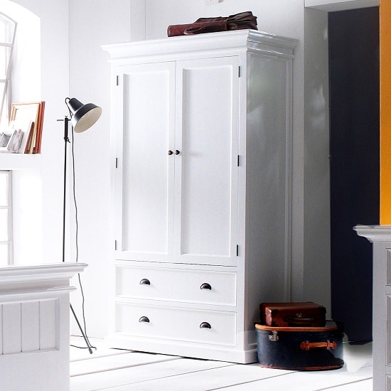 Allthorp Solid Wood Wardrobe In White With 2 Doors