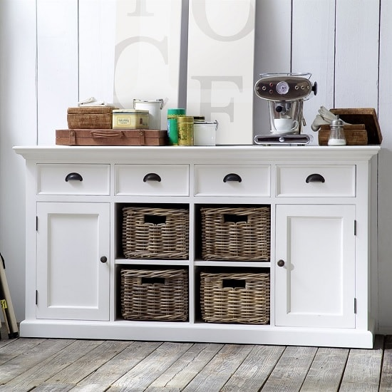 Allthorp Solid Wood Sideboard In White With 2 Doors 4 Baskets_3