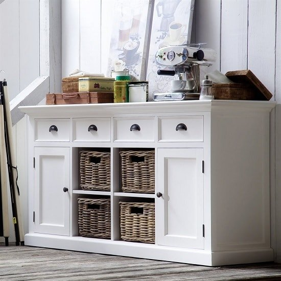 Allthorp Solid Wood Sideboard In White With 2 Doors 4 Baskets_1