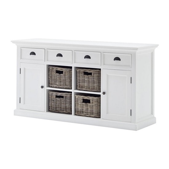 Allthorp Solid Wood Sideboard In White With 2 Doors 4 Baskets_6