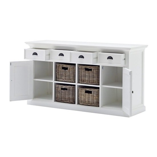 Allthorp Solid Wood Sideboard In White With 2 Doors 4 Baskets_4