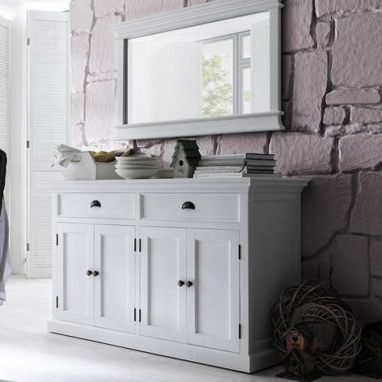 Allthorp Solid Wood Sideboard In White With 4 Doors_2