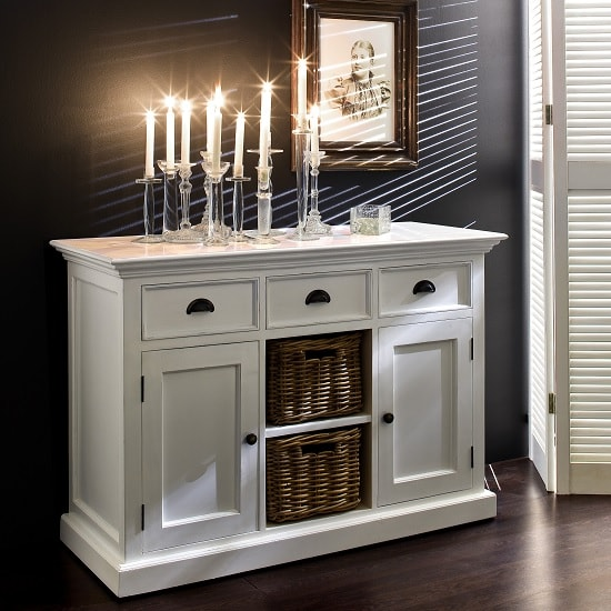 Allthorp Solid Wood Sideboard In White With 2 Doors And Baskets