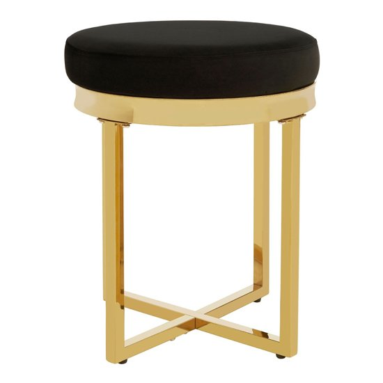 Alluras Black Velvet Stool In Gold Frame