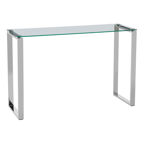 Alluras Clear Glass Console Table With Silver Sled Legs