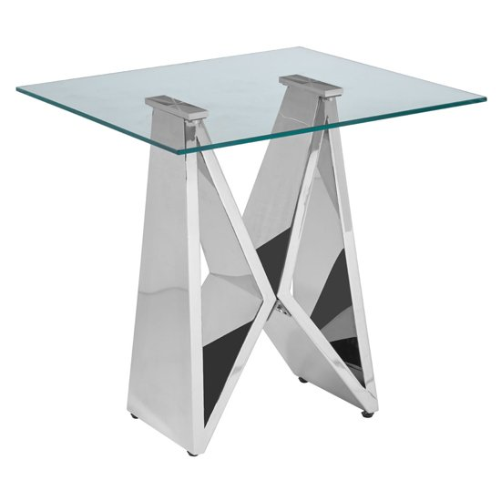 Alluras Clear Glass End Table With Silver Wing Base