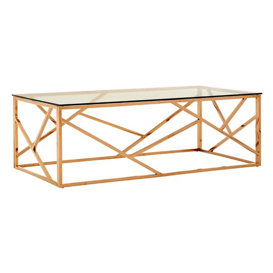 Alluras Glass Coffee Table In Gold Geometric Frame_1