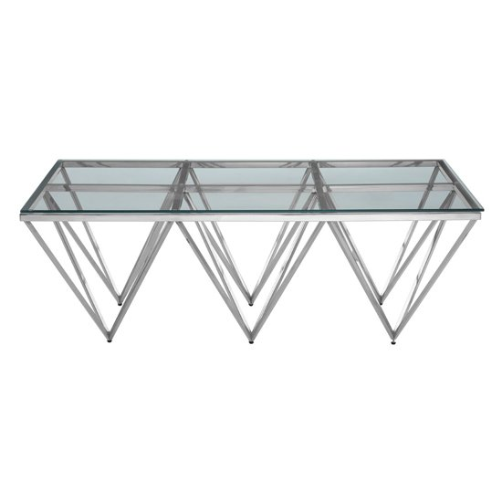 Alluras Glass Coffee Table With Silver Spike Triangles Base_2