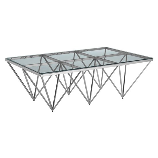 Alluras Glass Coffee Table With Silver Spike Triangles Base_1
