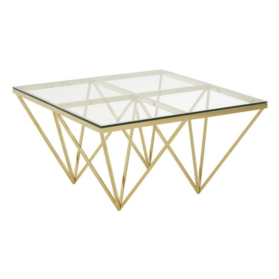 Alluras Glass Small Coffee Table With Gold Spike Triangles Base