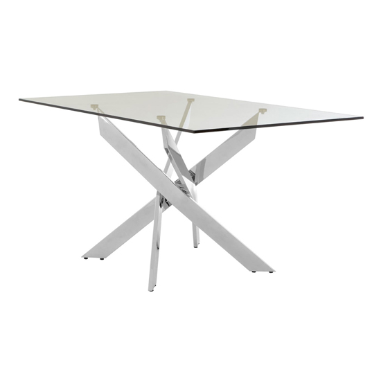 Alluras Intersected Rectangular Glass Dining Table In Chrome