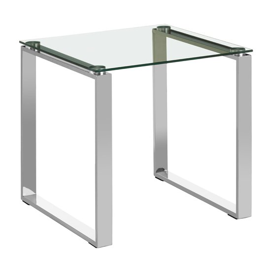 Alluras Square Glass End Table With Silver Base