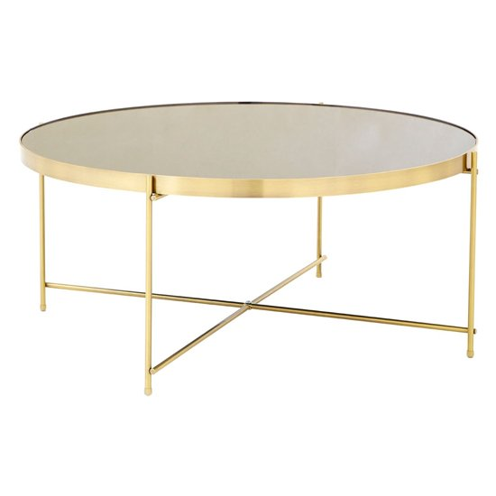 Alluras Coffee Table In Bronze With Black Mirror Top